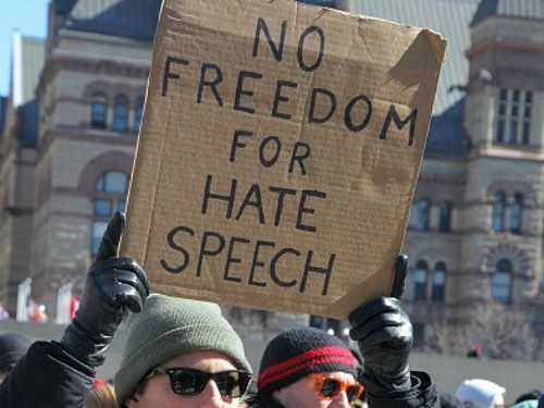 Hate speech protestor