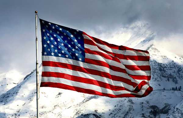 United States flag in winter